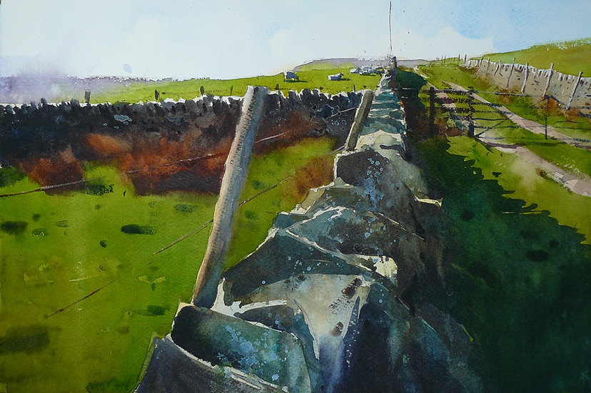 Wall and lane leading to hill top with mast. Painting by Paul Talbot-Greaves
