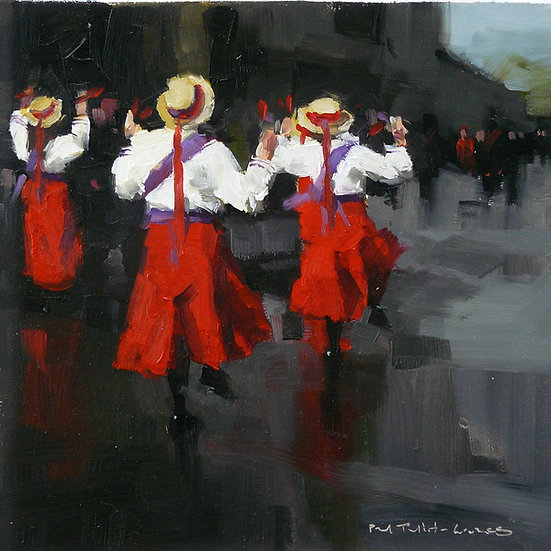 Grey day. Ladies in red and white folk dancing. Painting by Paul Talbot-Greaves