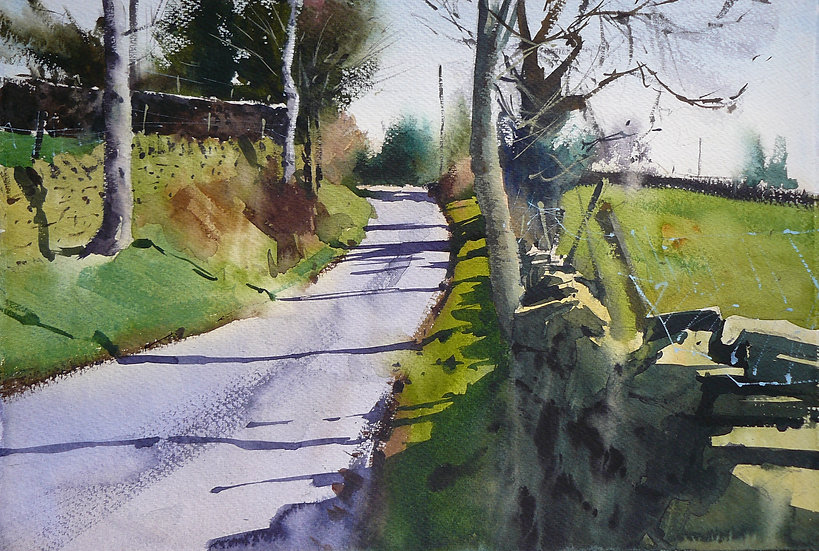 Light shining from the right with tree shadows cast across a road. Painting by Paul Talbot-Greaves