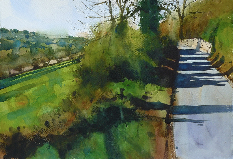 Trees and roadside verge in spring sunlight. Painting by Paul Talbot-Greaves