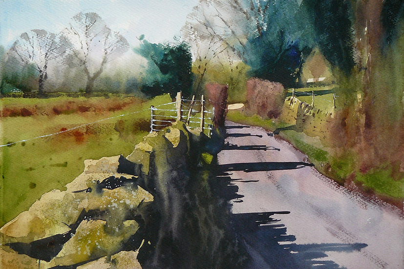 Varied greens of spring, sunlight from left. Painting by Paul Talbot-Greaves