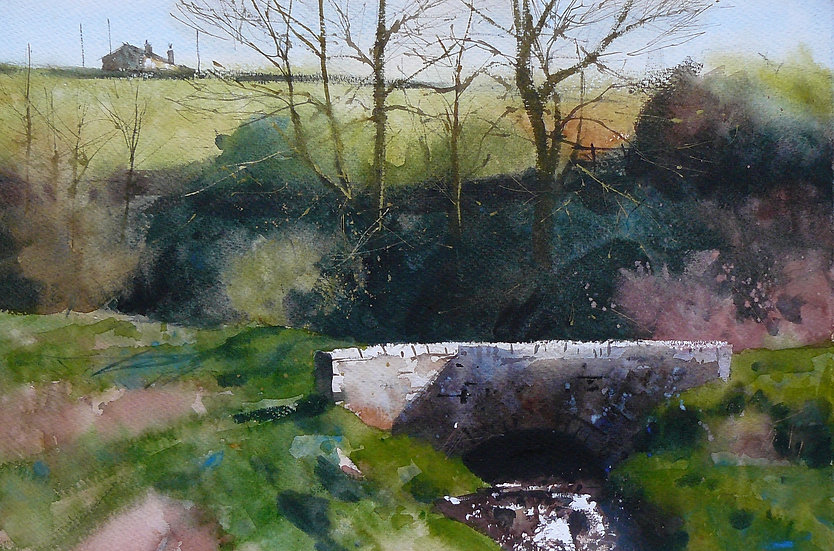 Painting by Paul Talbot-Greaves. A small beck running under a bridge with trees and deep shade behind.