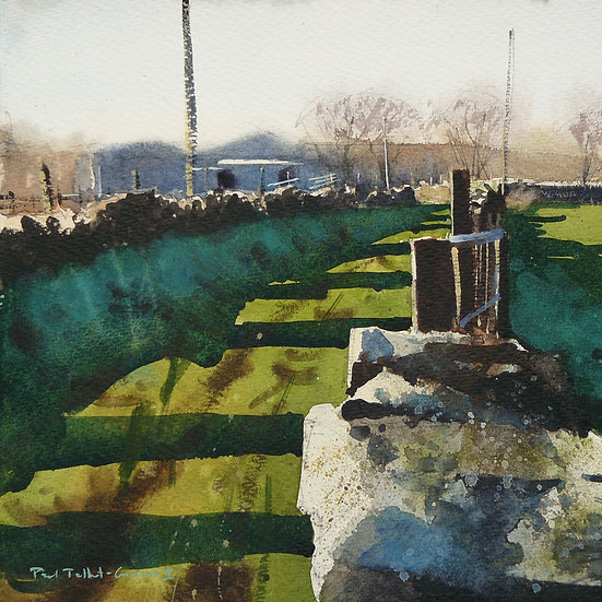 Long shadows across a green lane. Painting by Paul Talbot-Greaves