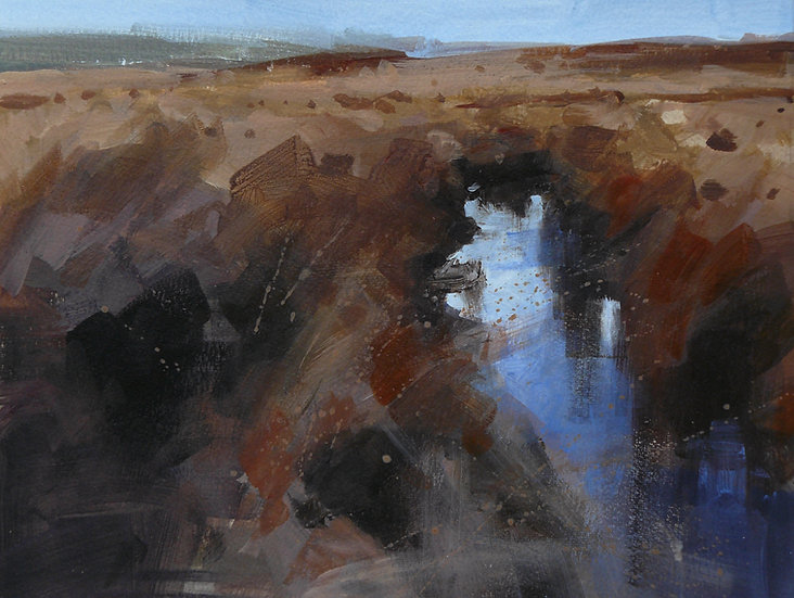 blue reflective pool in moorland. Painting by Paul Talbot-Greaves