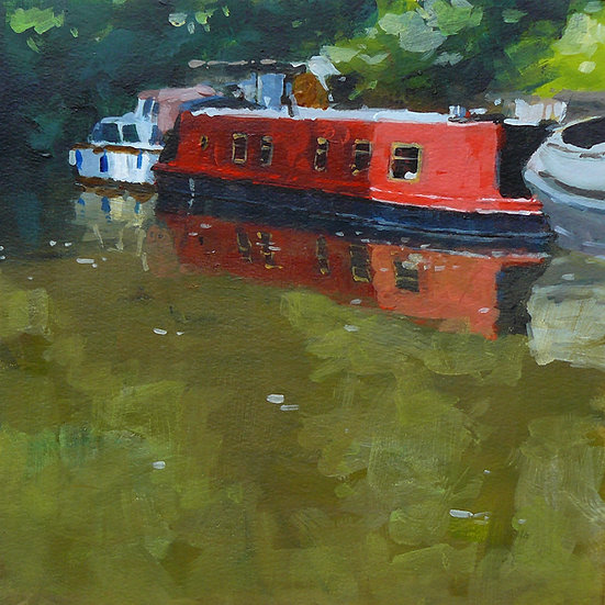 Red barge reflected in still water. Painting by Paul Talbot-Greaves