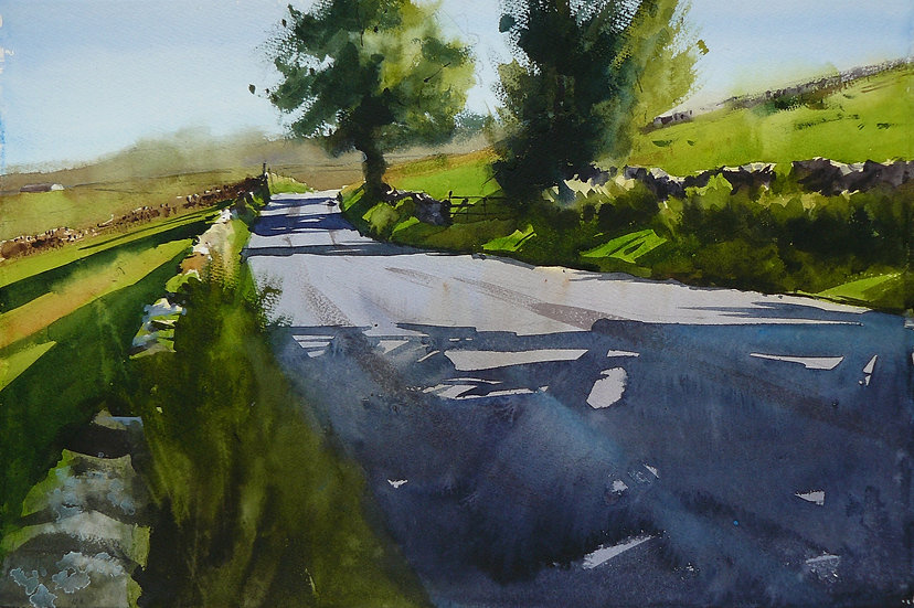 Summer scene, shadows and trees. Painting by Paul Talbot-Greaves