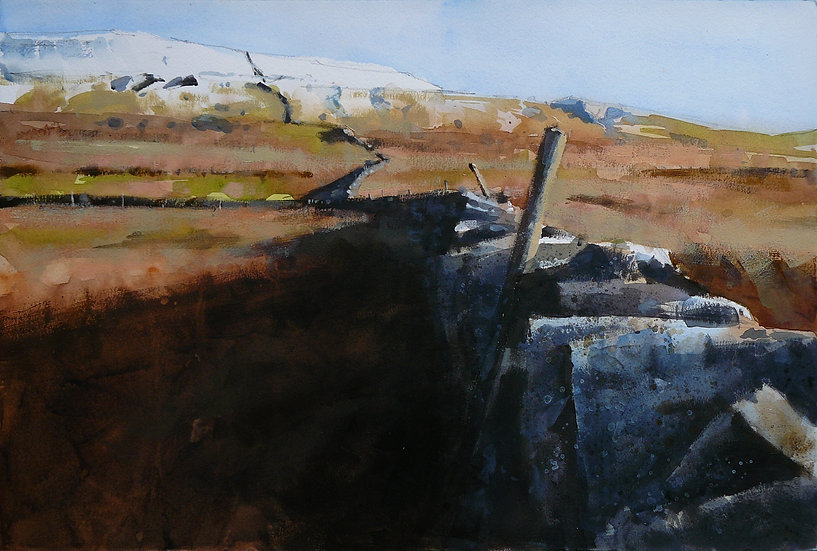 Old wall winding its way onto snow capped fell top. Painting by Paul Talbot-Greaves