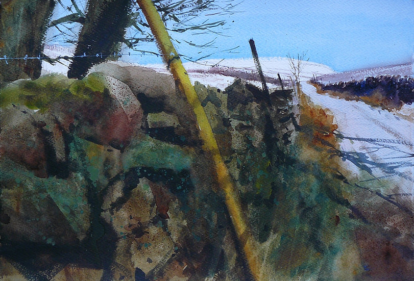 Wall and lane leading to snow capped hill. Painting by Paul Talbot-Greaves