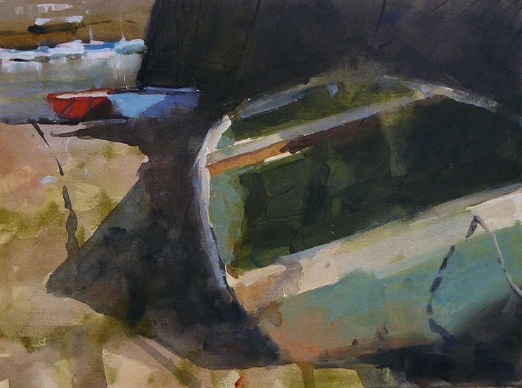 Three small rowing boats under a harbour wall. Painting by Paul Talbot-Greaves