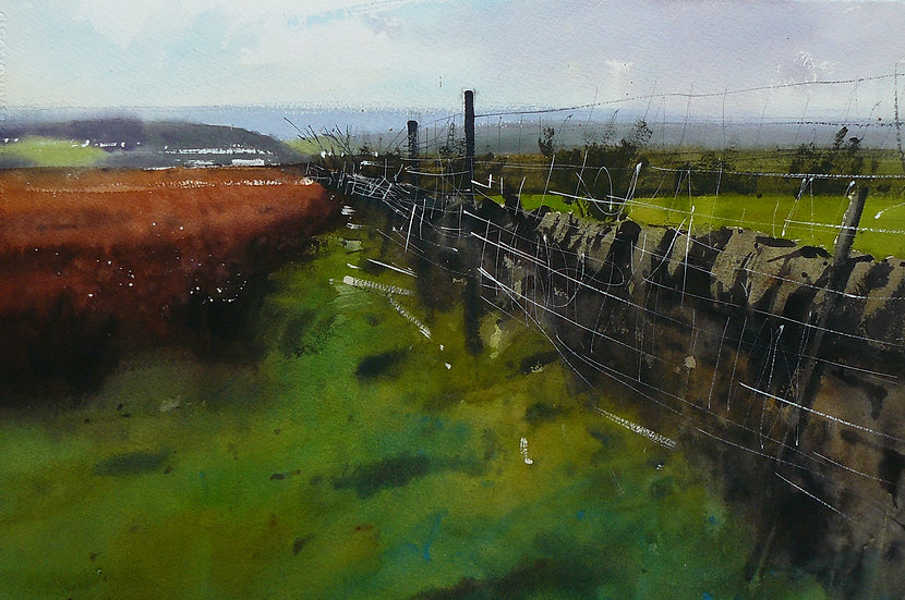 Tangle of wire fencing against a wall, crossing a moor. Painting by Paul Talbot-Greaves