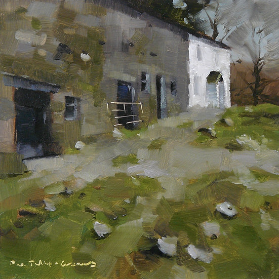 Cumbrian farm house, greens and greys. Painting by Paul Talbot-Greaves