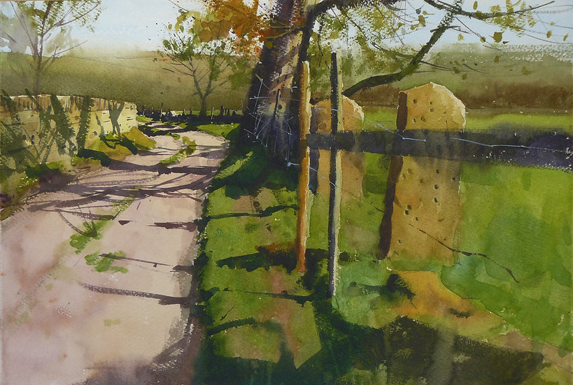 A lane in autumn with shadows from fenceposts and a tree. Painting by Paul Talbot-Greaves