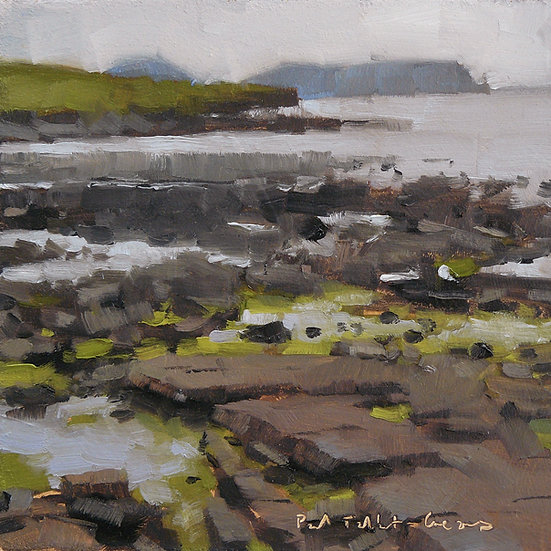 Shoreline of rocks, sea and cliffs further out. Painting by Paul Talbot-Greaves