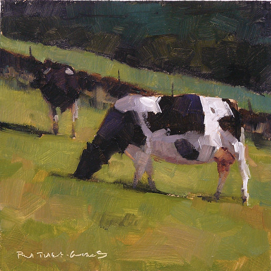 Peaceful scene. Two cows eating grass. Painting by Paul Talbot-Greaves