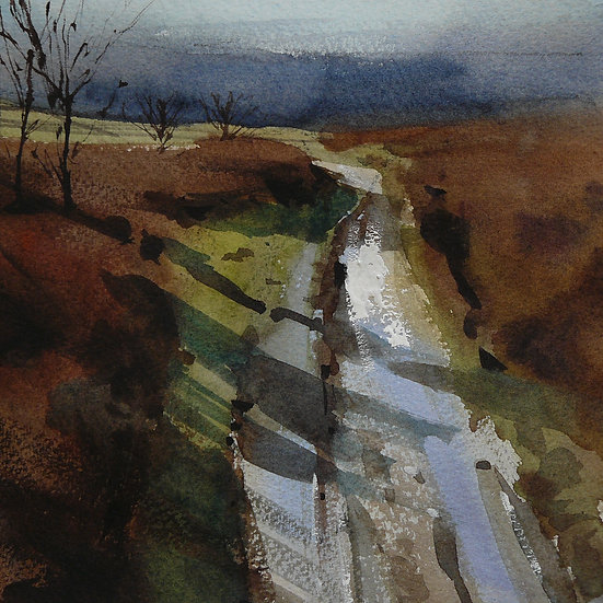 Shining light and sparkle on a wet path. Painting by Paul Talbot-Greaves