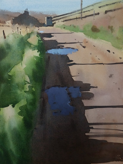 3 puddles receding down a lane. Painting by Paul Talbot-Greaves