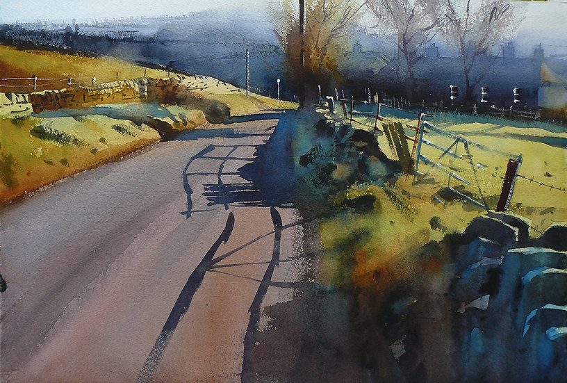 Warm light, misty background, shadows across a road. Painting by Paul Talbot-Greaves