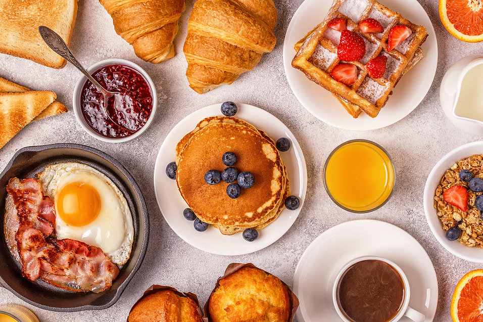 Delicious breakfast on a light table. To