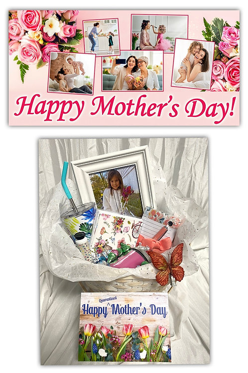 Mother's Day Gift Basket with 2'x4' Custom Banner