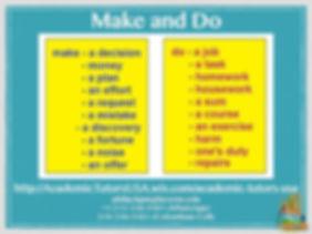 A1-A2 Vocab Bank - Make and Do 2009-2020