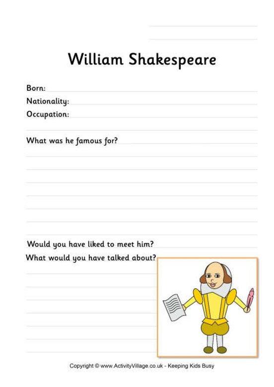 William Shakespeare Worksheet for Kids -