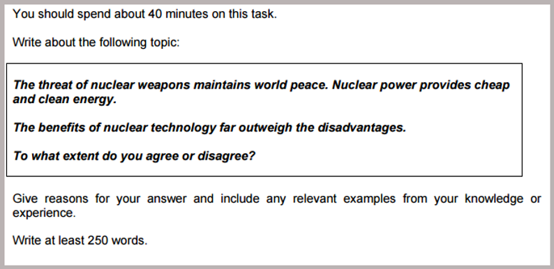 IELTS Writing Questions 5 - Nuclear Ener