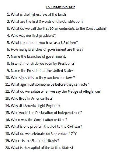 USA Citizenship Test Questions 1 - Novem
