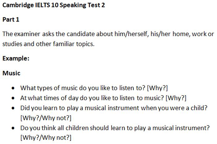 cambridge ielts 10 speaking test 2 part