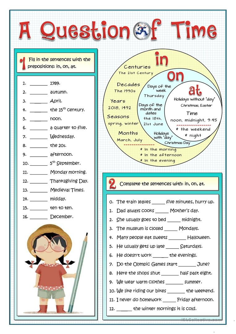 A1-A2 Grammar Prepositions of Time Works