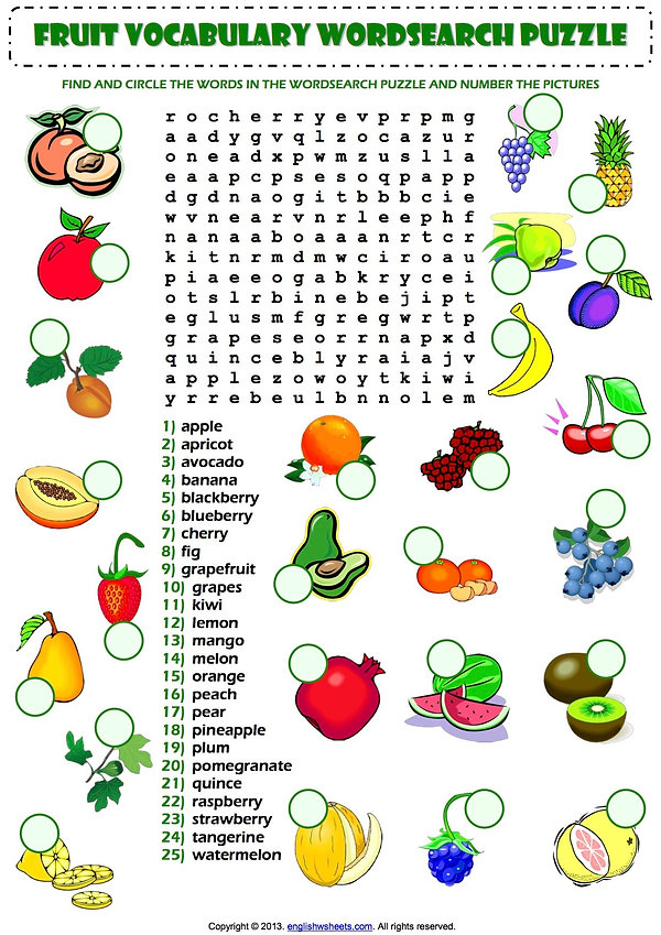 A1-A2 Fruit Vocabulary Word Search Activ