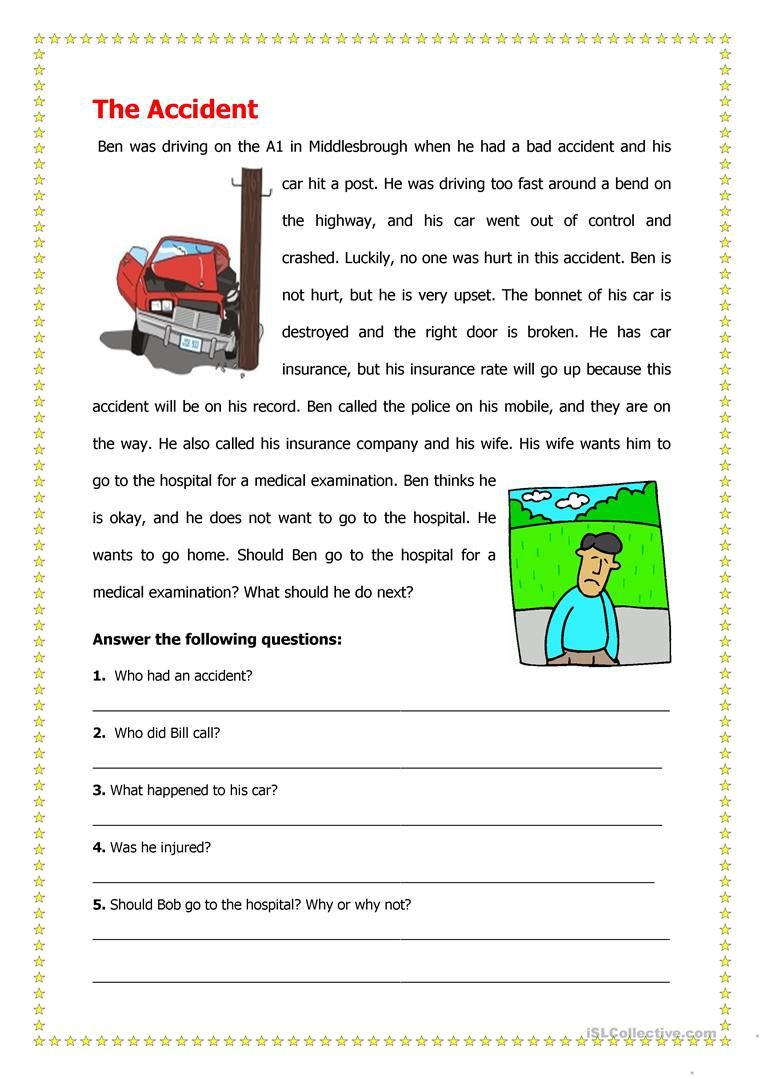 A1-A2 Reading Worksheet 10 - The Acciden