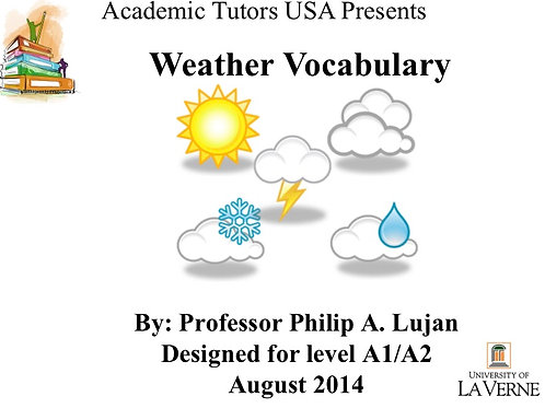 A1/A2 Level Vocabulary : The Weather (2.1.1)