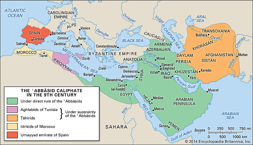 Abbasid-Caliphate in the 9th century - N