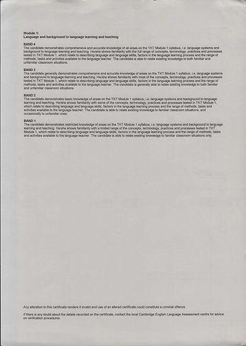 TKT Certificate - Module 1 - Dec 18 2013
