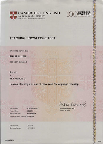 TKT Certificate - Module 2 - Dec 18 2013