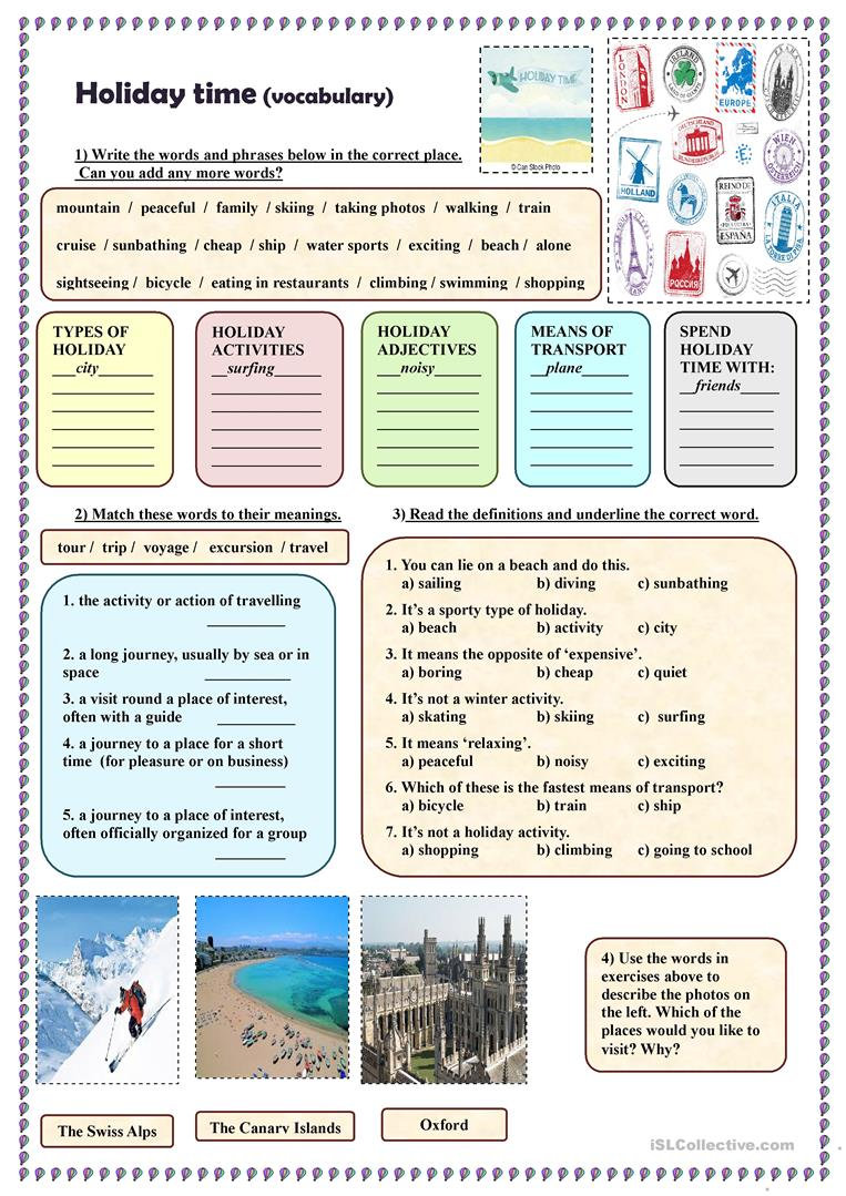 B1-B2 Vocabulary Act 3 - Holiday Time -