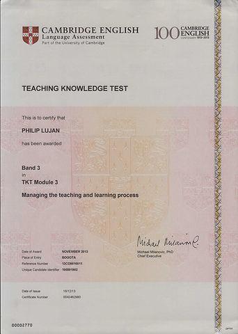 TKT Certificate - Module 3 - Dec 18 2013