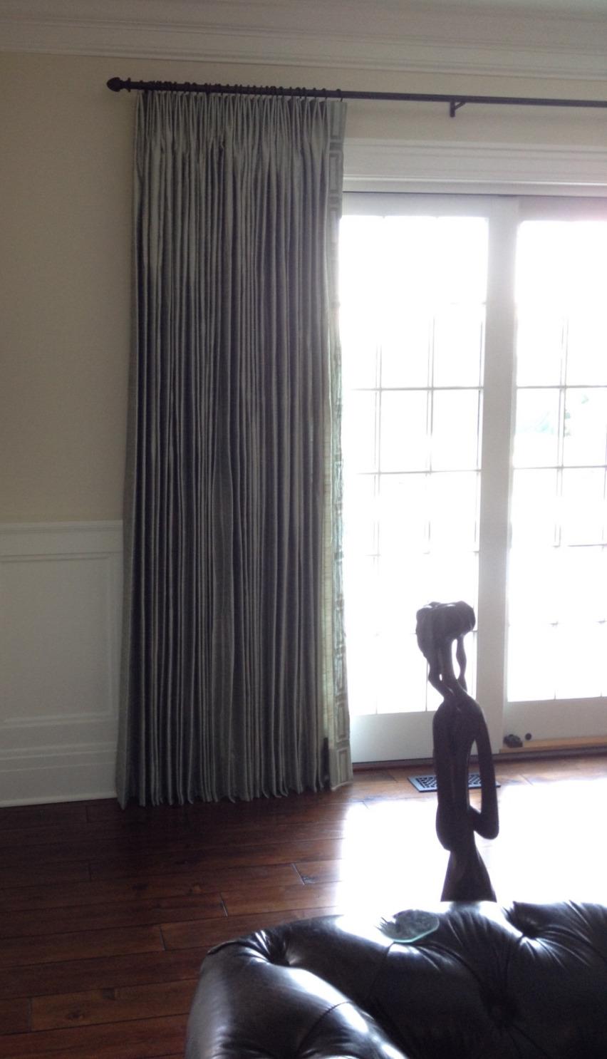 Silk french pleated drapery w/trim