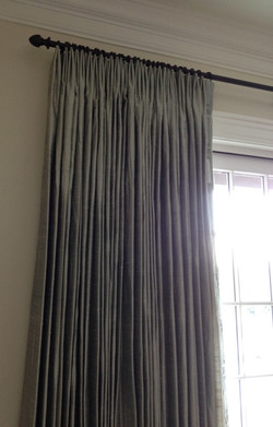 Silk french pleated drapery w/trim