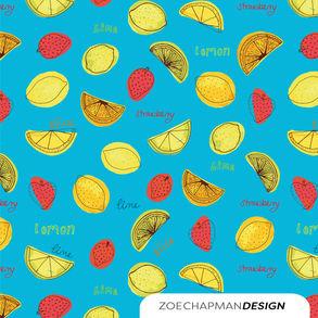 Lemons and limes on blue