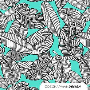 Mint/Grey Leaf Silhouette