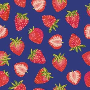 Summer Strawberry on Blue