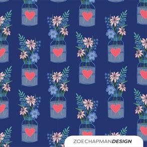 Vase with Floral on Blue