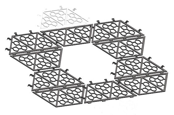 Sistema modular de piezas hexagonales