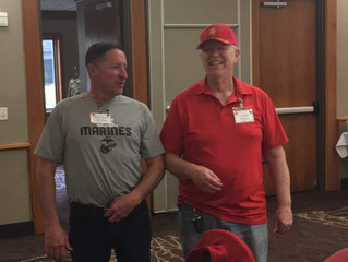 Elbow rubbing at the Best Westernin Mankato at the 2017 Marine Corps League Department Convention