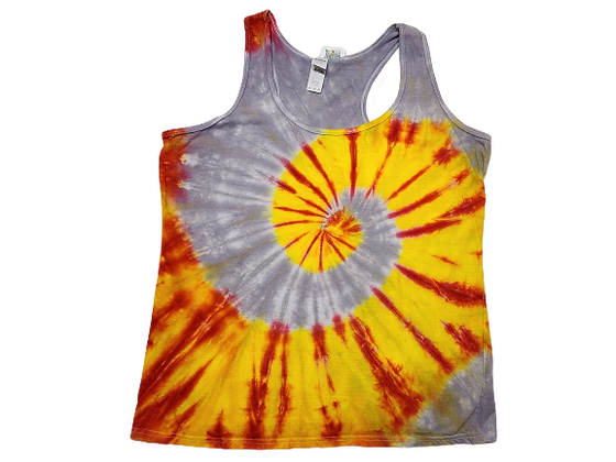 Woman's Large Racerback Tank with a Three Color, Two Spiral Pattern