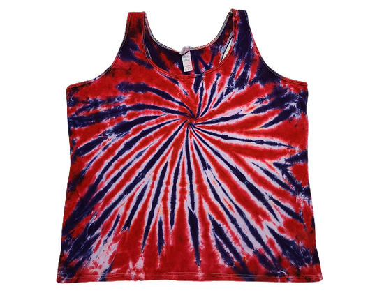 Woman's 2XL Racerback Tank with Two Color Burst Spiral