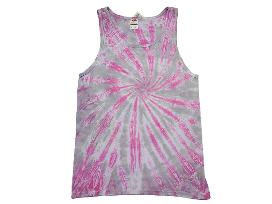Adult Size Medium Tank Top with Two Colors in a Burst Spiral Pattern