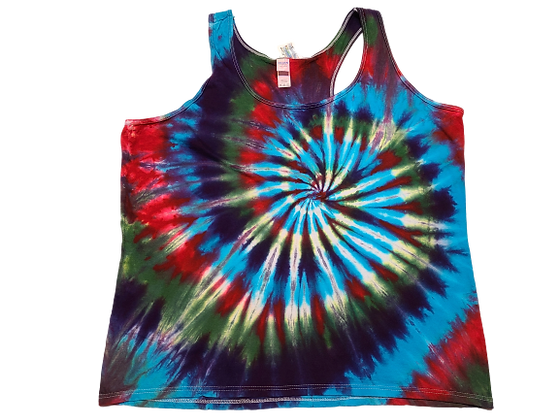 Woman's 2XL Racerback Tank with Four Color Classic Spiral