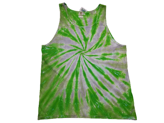 Adult Size XL Tank Top with Bright Green and Grey Burst Spiral